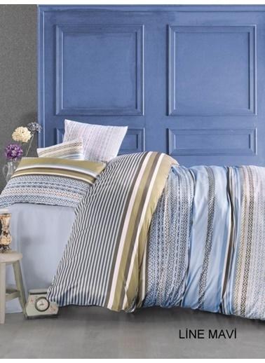 Jolly Home Çift Kişilik Nevresim Takımı - Polly Cotton-  Line Mavi Mavi